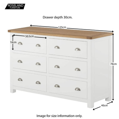 Padstow White Large Bedroom Chest of Drawers - Size Guide