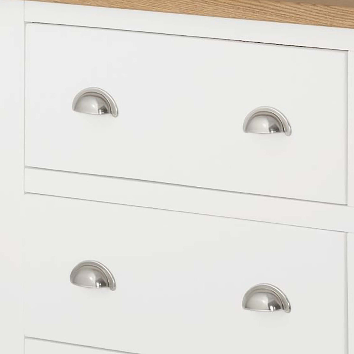 The Padstow White Chest of 6 Drawers - Close Up of Drawer Handles