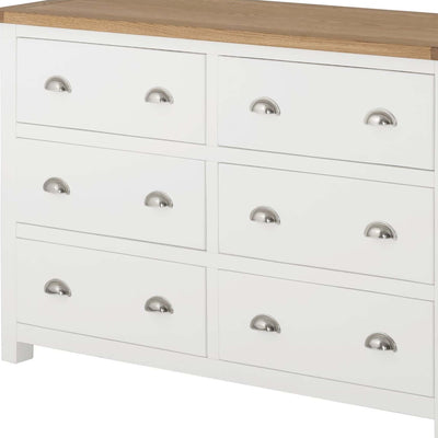 The Padstow White Wooden Chest of 6 Drawers - Close Up of Drawer Fronts