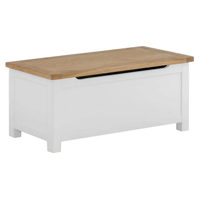 The Padstow White Wooden Ottoman Storage Chest by Roseland Furniture