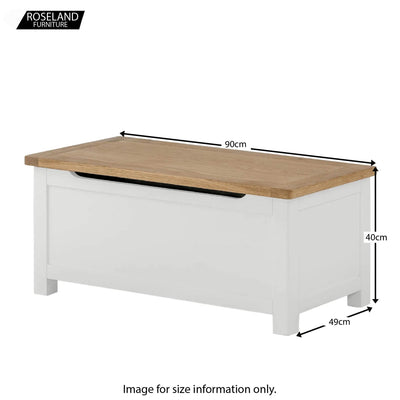 Padstow White Wooden Blanket Box Ottoman - Size Guide