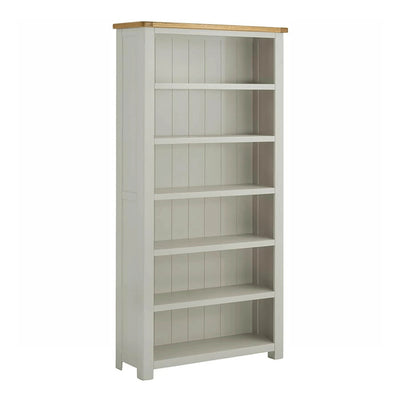 The Padstow Grey 5 Shelf Bookcase with Oak Top from Roseland Furniture