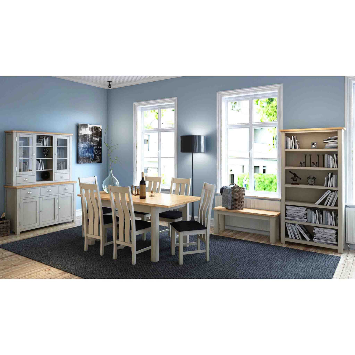 Decorative room image with the Padstow Grey Large Bookcase