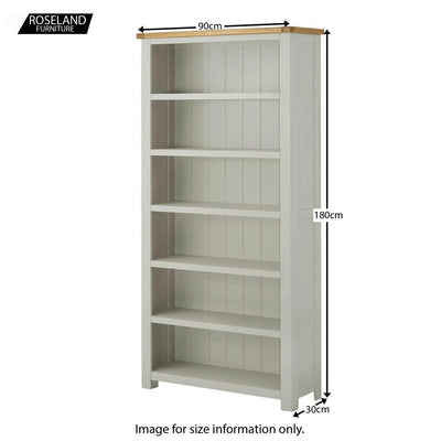 Padstow Grey Large Bookcase - Size Guide