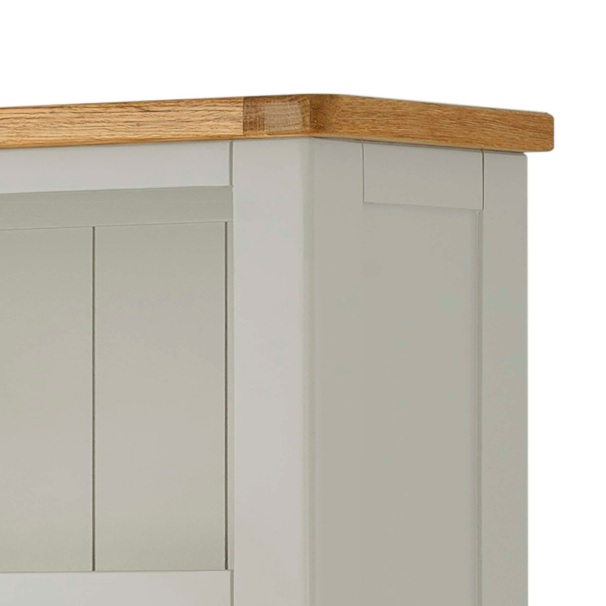 The Padstow Grey 5 Shelf Bookcase - Close Up of Oak Top