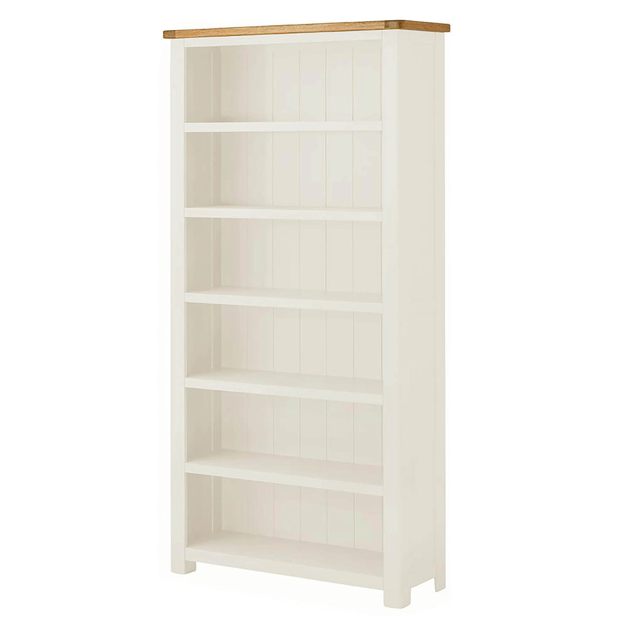 The Padstow White Large Wooden Bookcase with Oak Top from Roseland Furniture