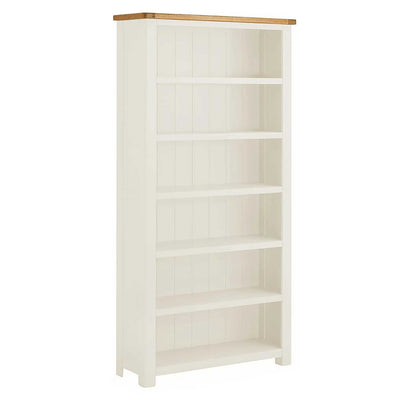 The Padstow White Large 6 Shelf Bookcase crafted from solid wood