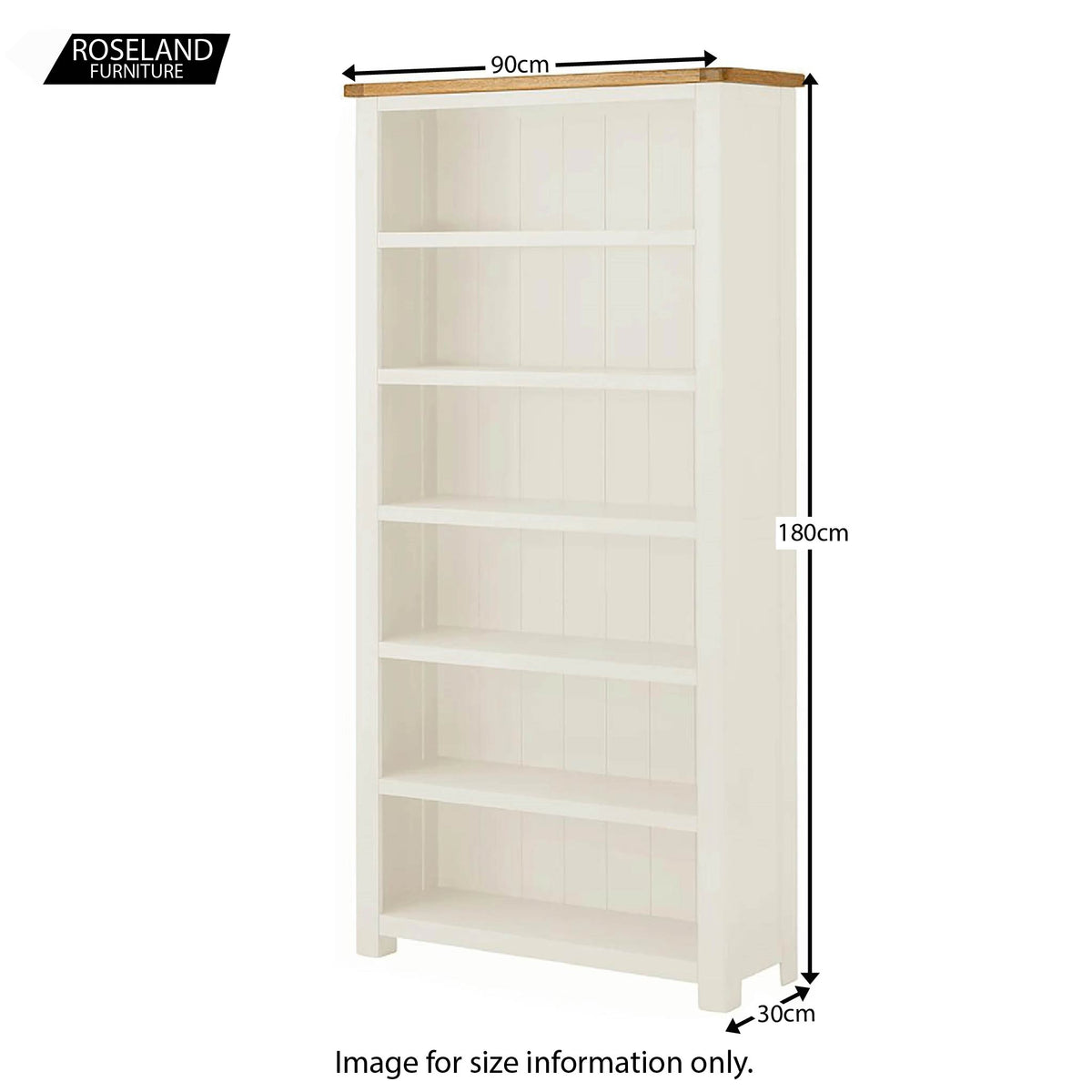 Padstow White Large Bookcase - Size Guide