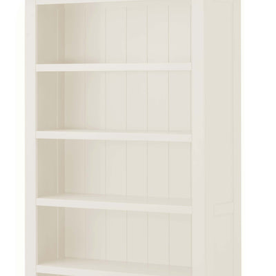 The Padstow White Large Wooden Bookcase - Close Up of Shelves and Back of Bookcase