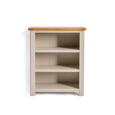 The Padstow Stone Grey Small Low Bookcase by Roseland Furniture