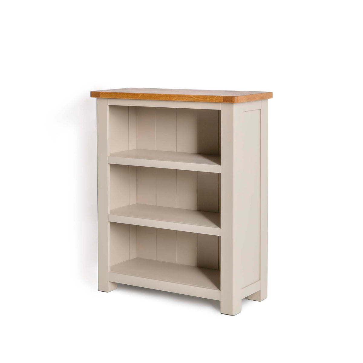 The Padstow Stone Grey Small Low Bookcase - Side view