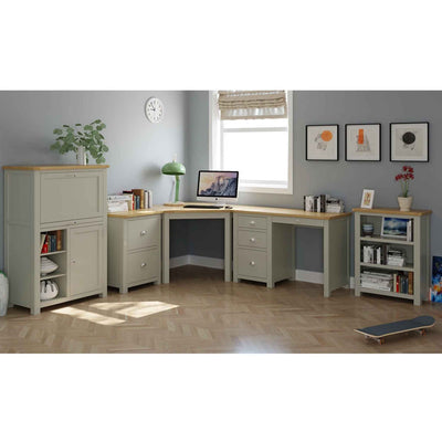 Decorative office image with The Padstow Grey Small Low Wooden Bookcase