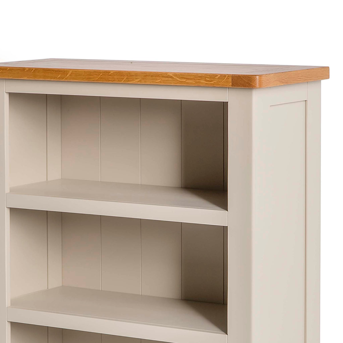 The Padstow Stone Grey Small Low Bookcase - Close up