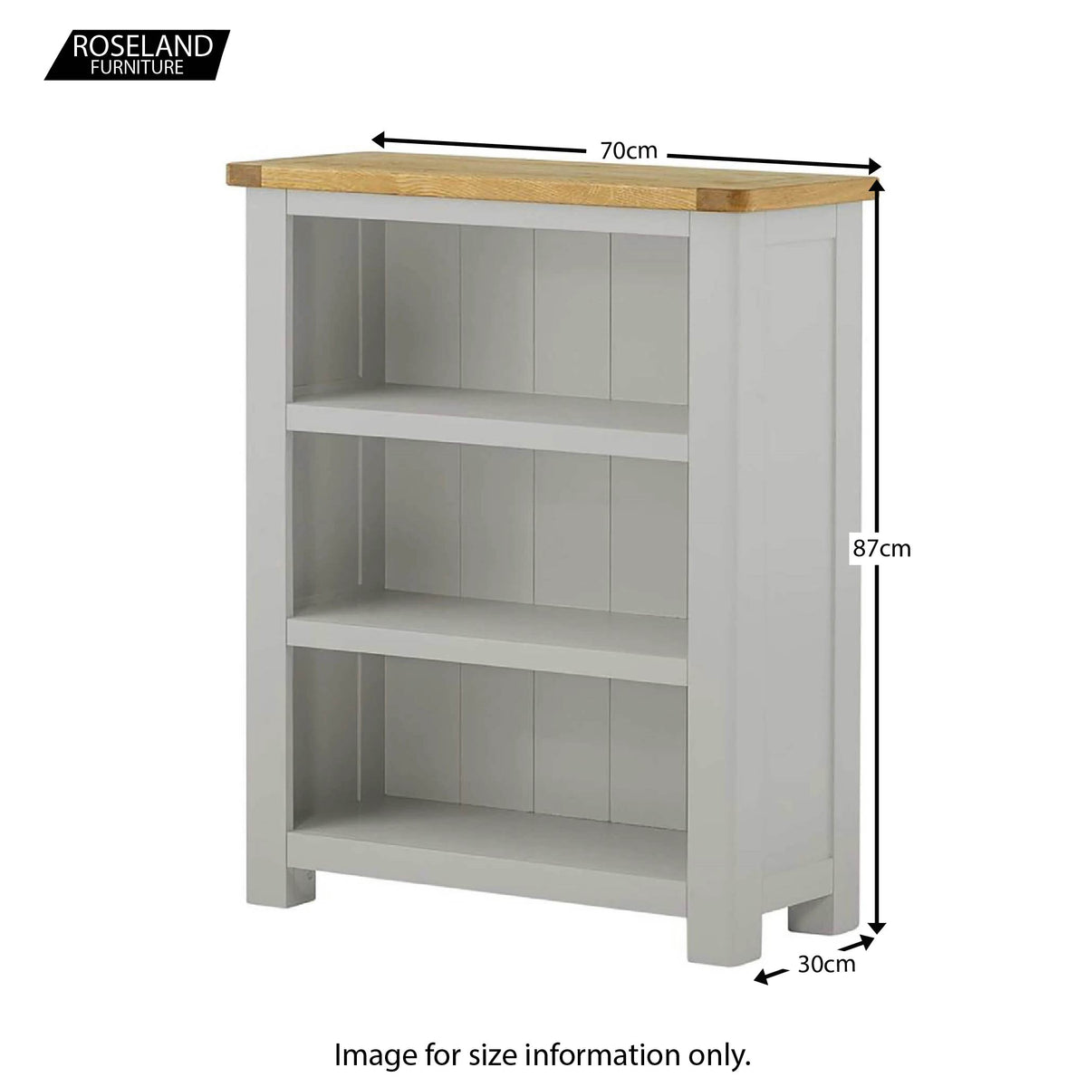 Padstow Grey Low Bookcase - Size Guide