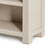The Padstow Stone Grey Small Low Bookcase - Close up of  Lower shelf and Feet