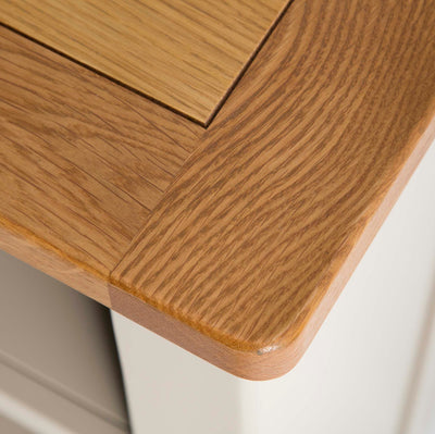 The Padstow Stone Grey Small Low Bookcase - Close up of corner of Oak Top