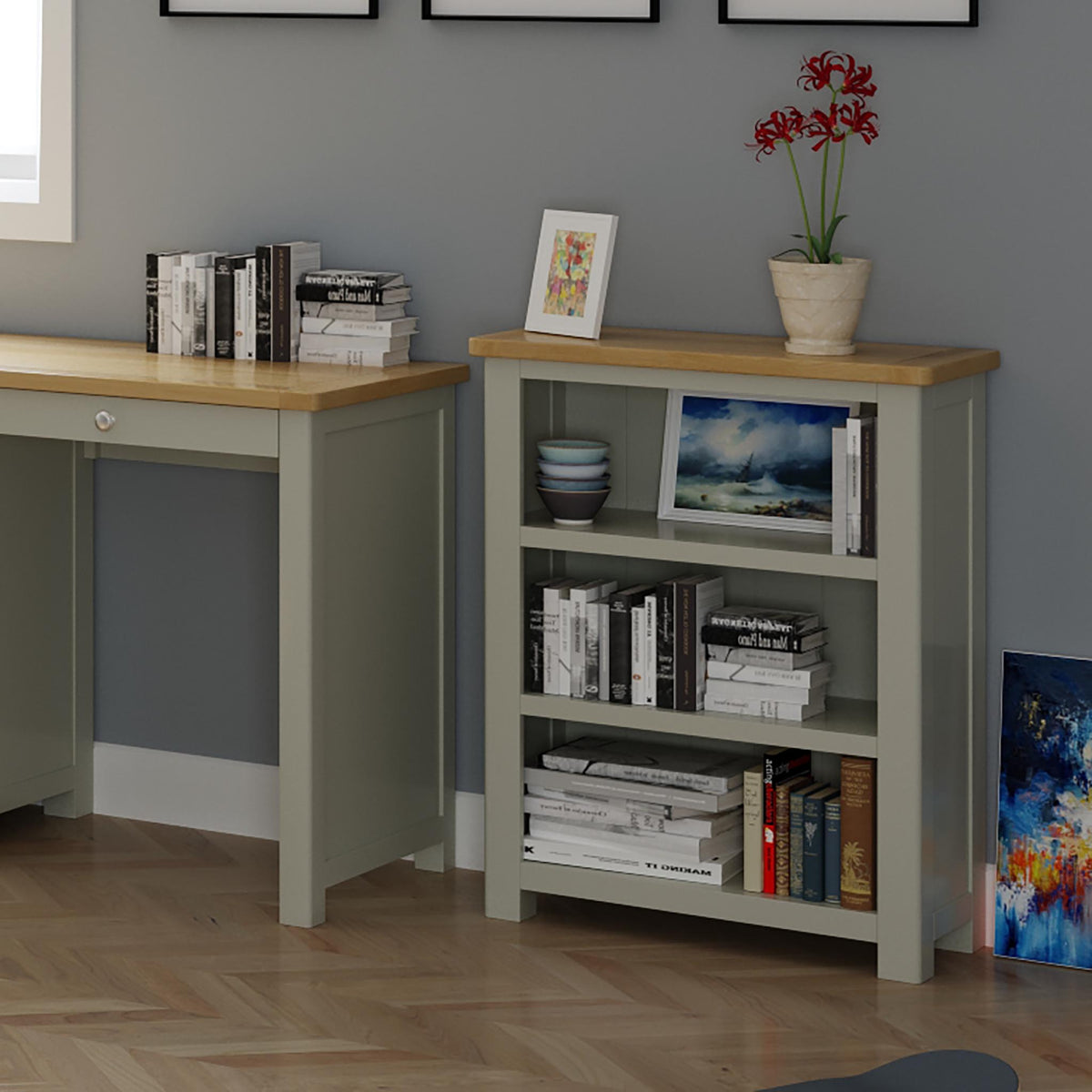 The Padstow Grey Small Low Wooden Bookcase - Lifestyle