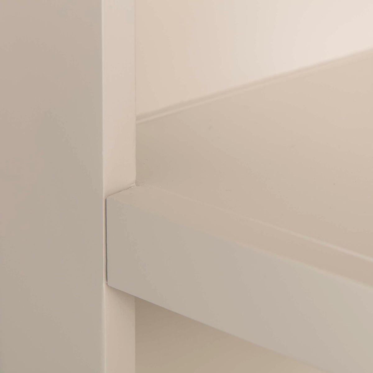The Padstow Stone Grey Small Low Bookcase - Close up of shelf edge