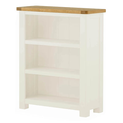 The Padstow White Small Low Bookcase with Oak Top from Roseland Furniture