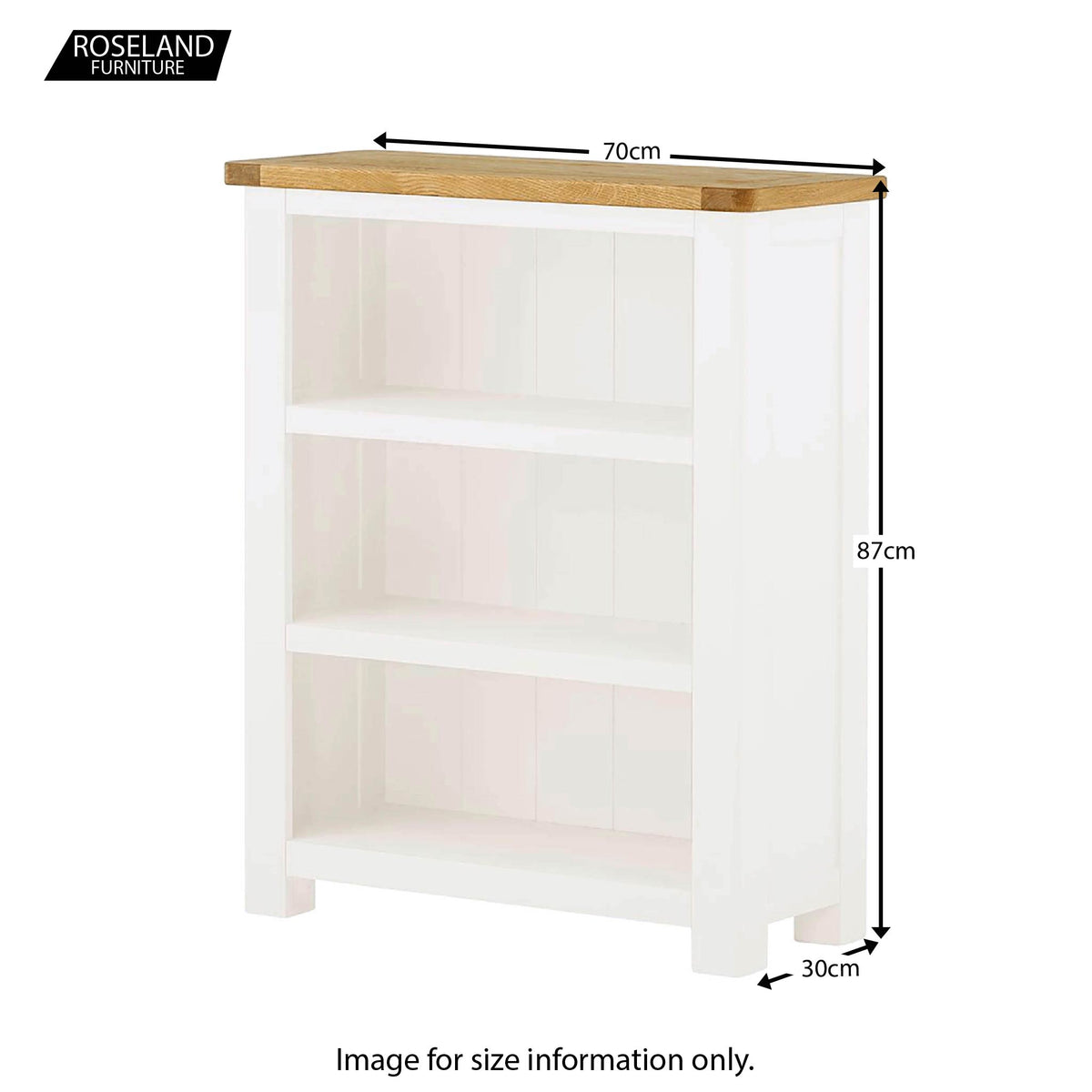 Padstow White Small Low Bookcase - Size Guide
