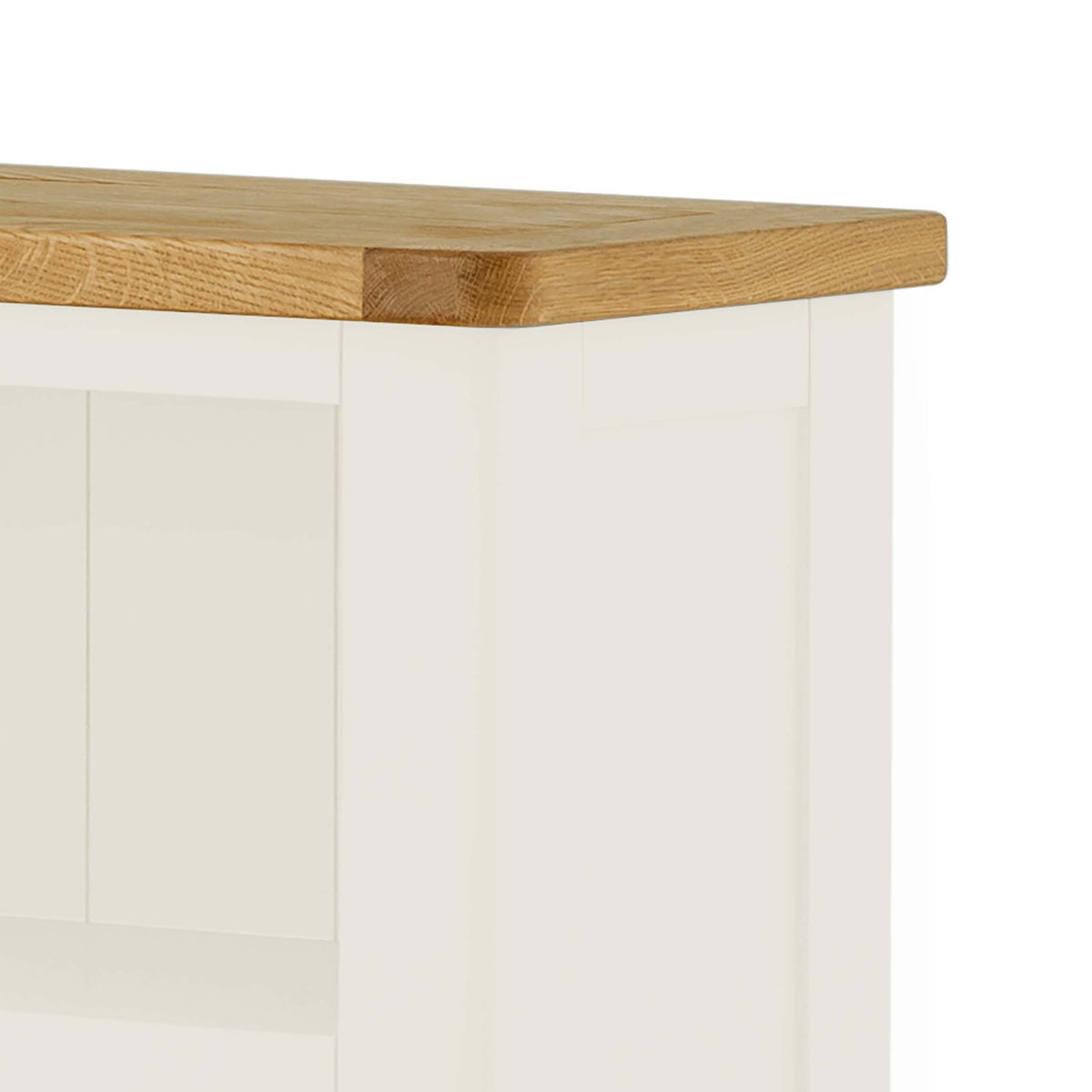 The Padstow White Small Low Bookcase - Close Up of Oak Top