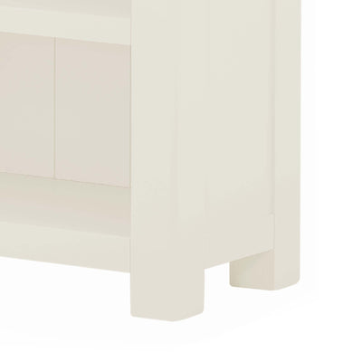 The Padstow White Small Low Bookcase - Close Up of Feet