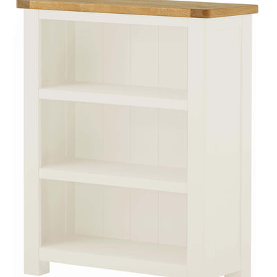 The Padstow White Small Low Bookcase - Close Up of Shelving and Back of Bookcase