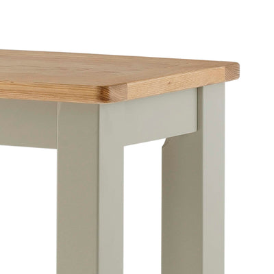 The Padstow Grey Wooden Breakfast Bar - Close Up of Oak Top