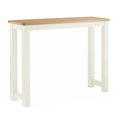The Padstow White Wooden Breakfast Bar with Oak Top from Roseland Furniture