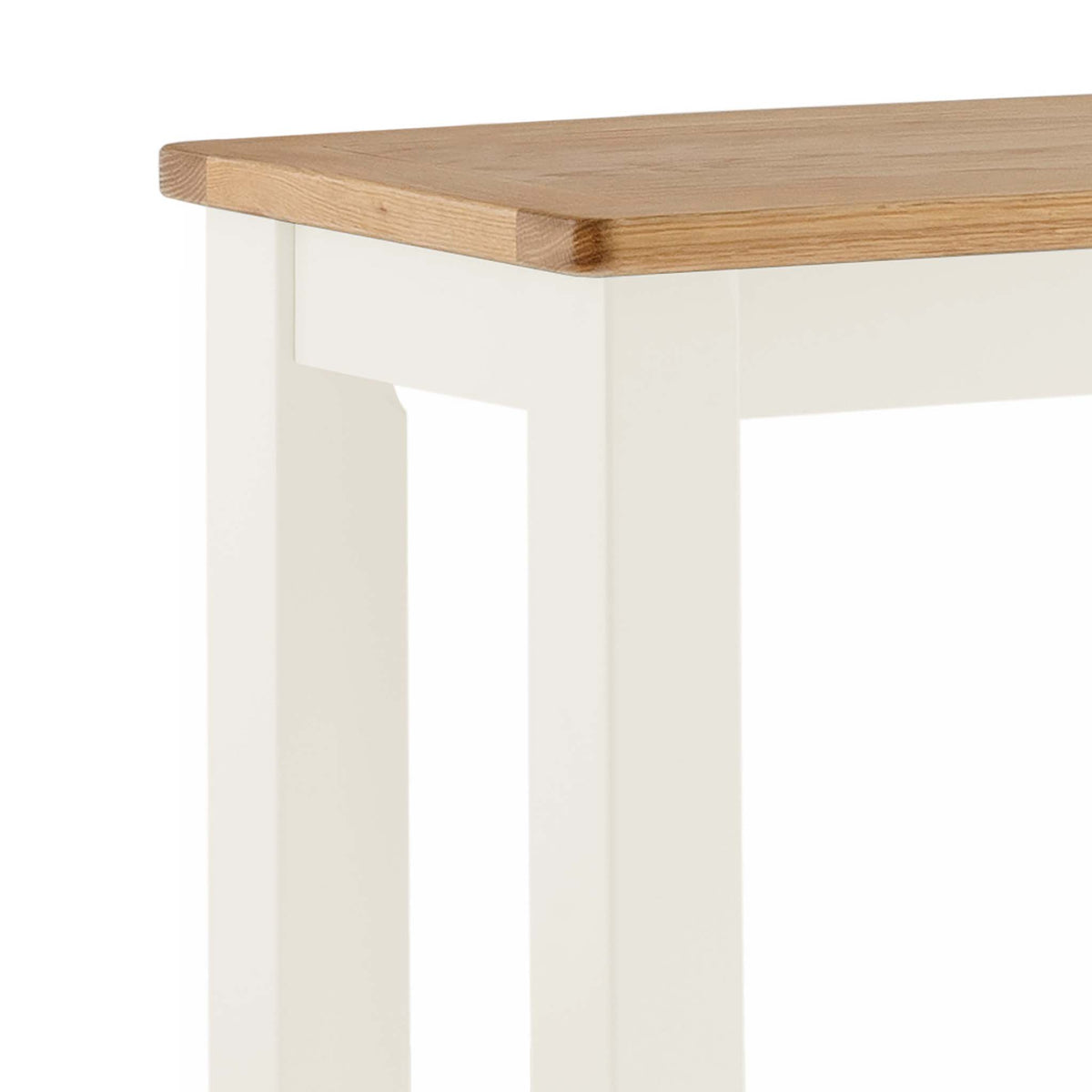 The Padstow White Wooden Breakfast Bar - Close Up of Oak Top