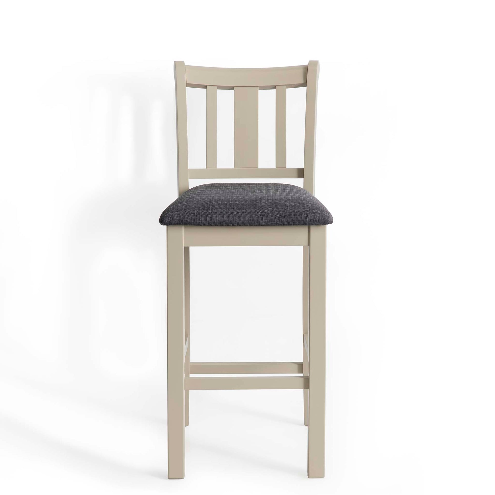Padstow Stone Grey Breakfast Bar Stool with Padded Seat by Roseland Furniture