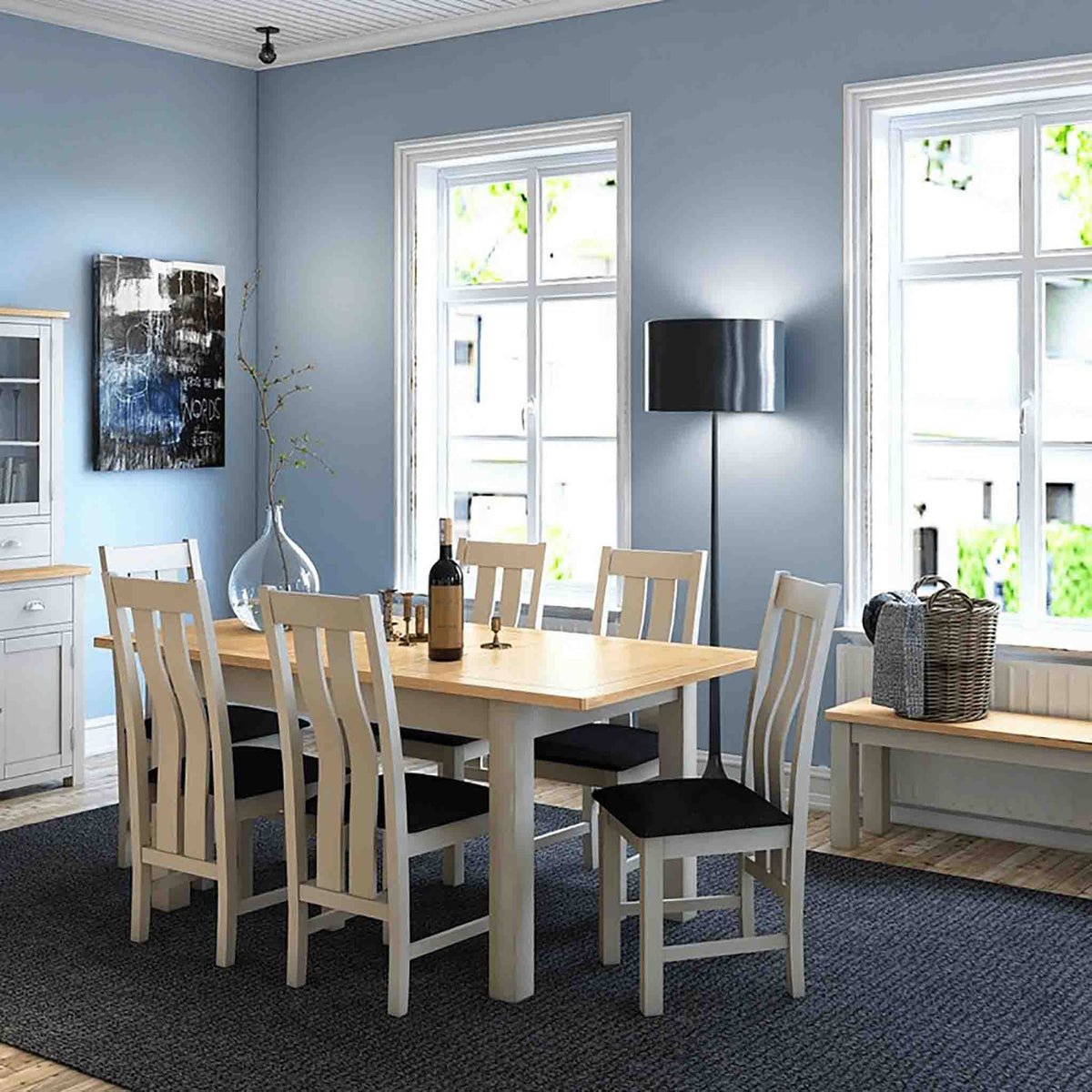 The Padstow Grey Wooden Dining Table Set with 4 Dining Chairs - Chairs Lifestyle