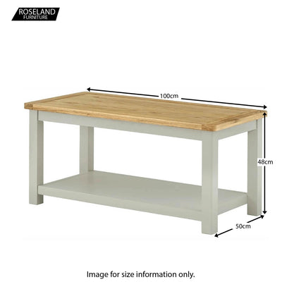 Padstow Grey Coffee Table - Size Guide