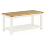 The Padstow White Large Wooden Coffee Table with Oak Top from Roseland Furniture