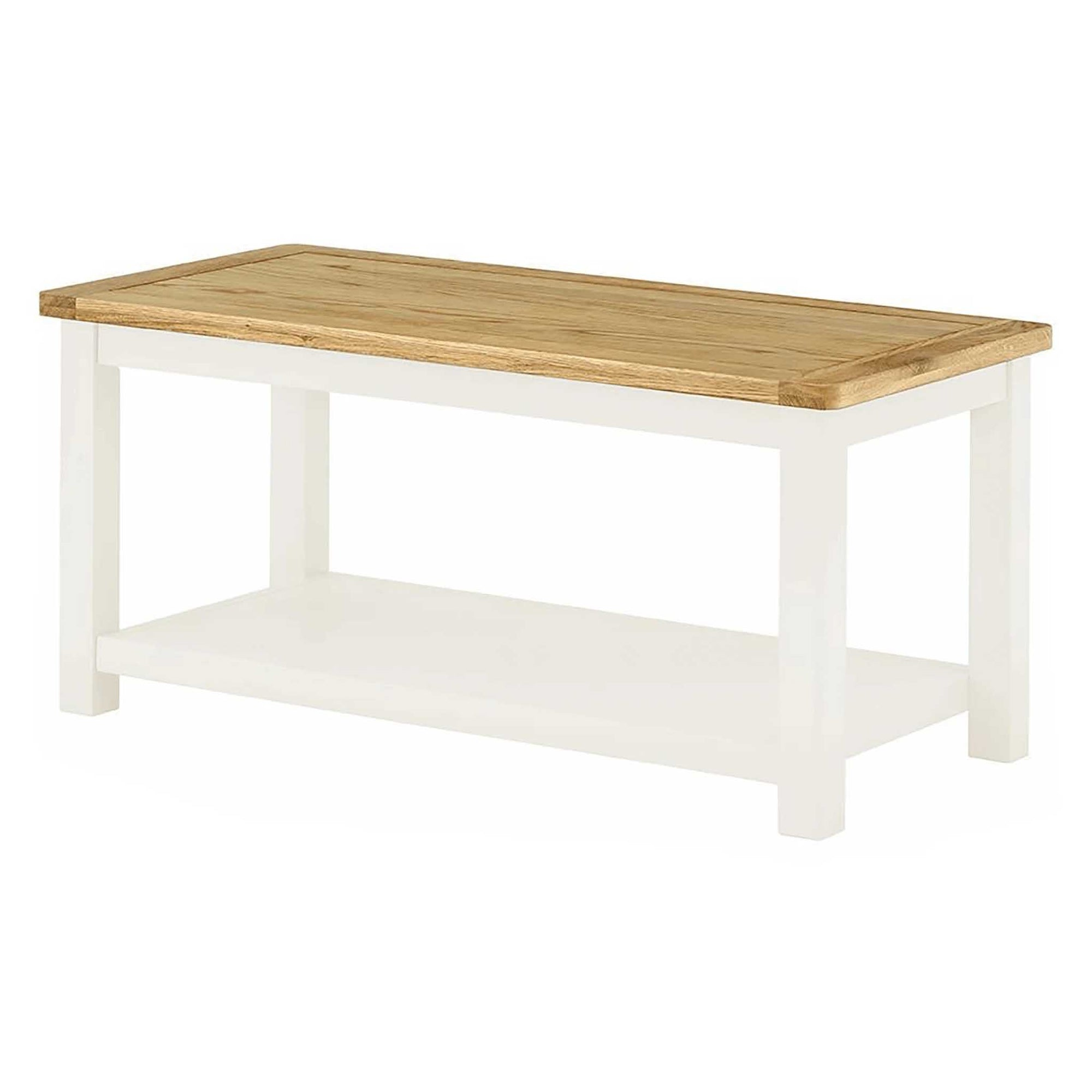 Padstow White Coffee Table With Shelf Solid Wood Oak Roseland Furniture