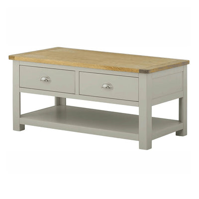 The Padstow Grey Small Oak Top Coffee Table with Storage Drawers from Roseland Furniture