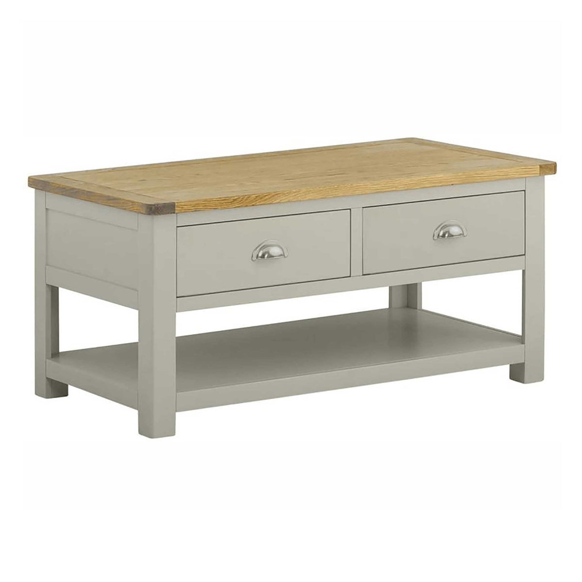 The Padstow Grey Low Wooden Coffee Table with 2 Drawers from Roseland Furniture