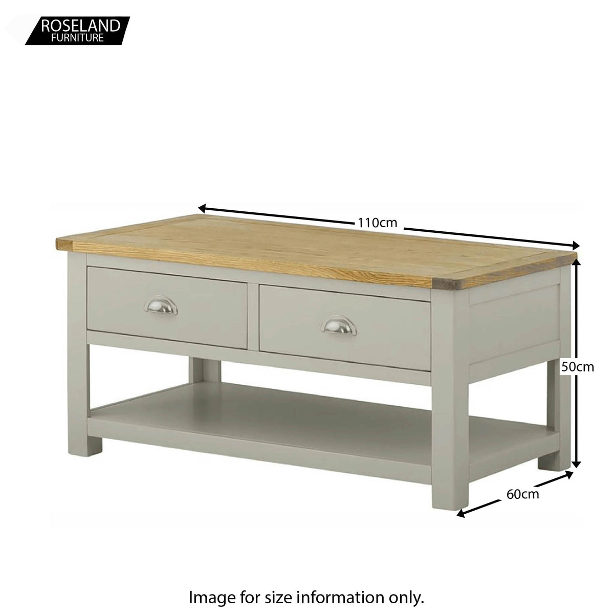 Padstow Grey Large Coffee Table with Drawers - Size Guide
