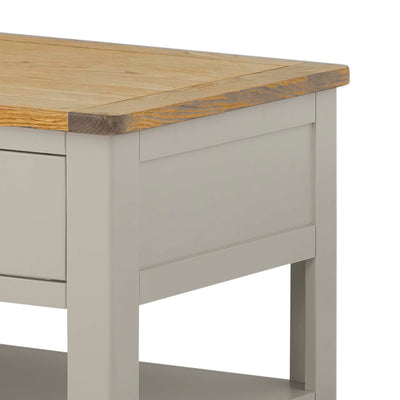 The Padstow Grey Small Oak Top Coffee Table - Close Up of Oak Top of Table
