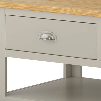 The Padstow Grey Small Oak Top Coffee Table - Close Up of Drawer