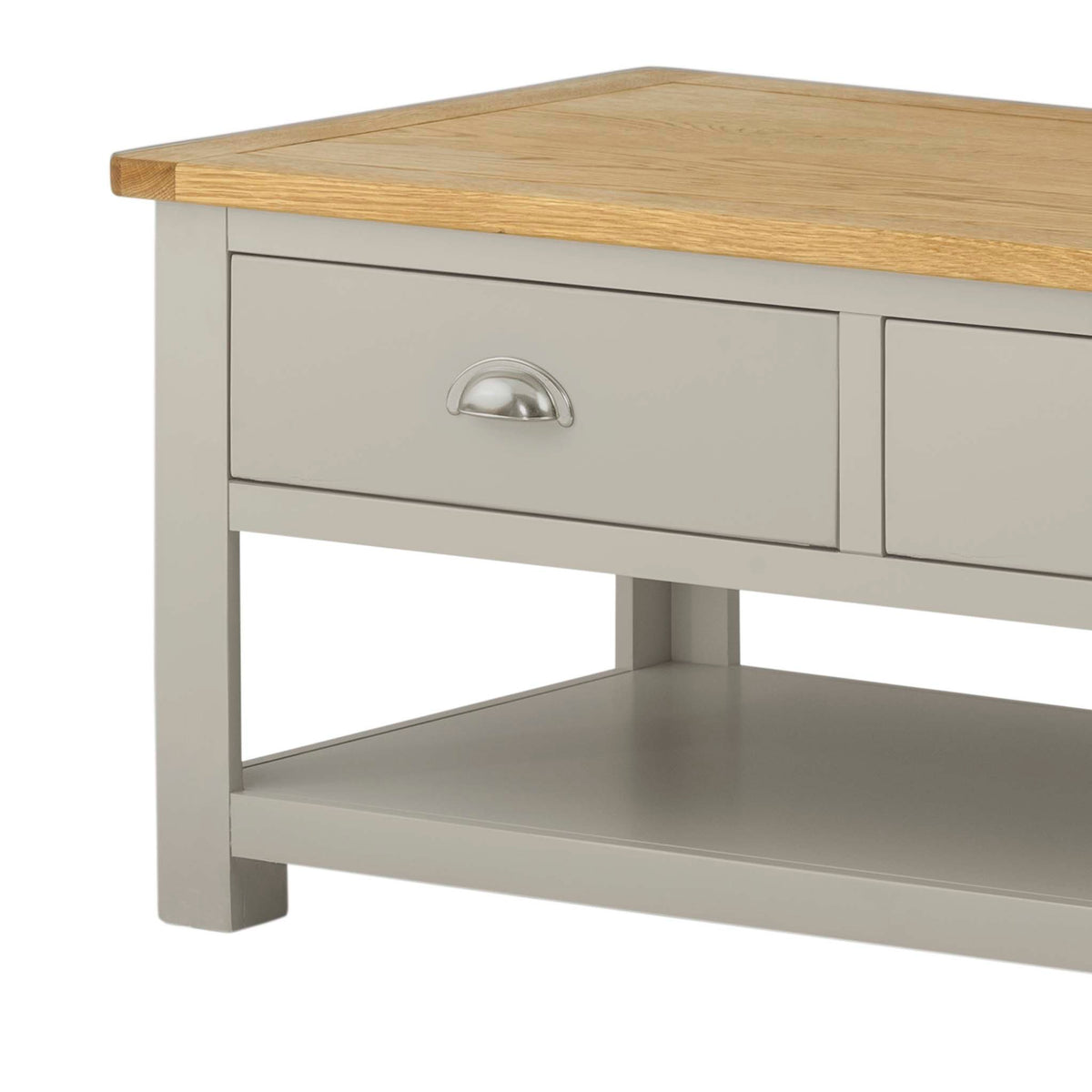 The Padstow Grey Small Oak Top Coffee Table - Close Up