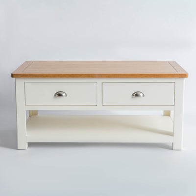 front view of The Padstow White Solid Wood Coffee Table