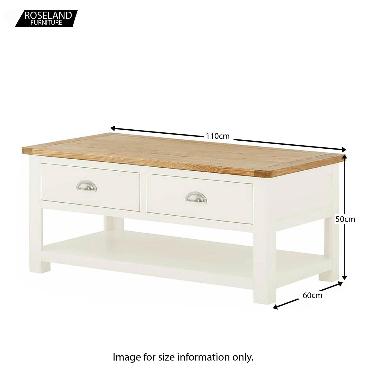 Padstow White 110cm Coffee Table - Size Guide