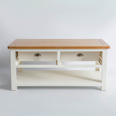 The Padstow White Solid Wood Coffee Table with reversible drawers
