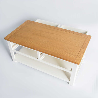 opened drawer view of the The Padstow White Solid Wood Coffee Table