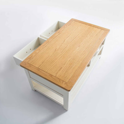 top view of the The Padstow White Solid Wood Coffee Table