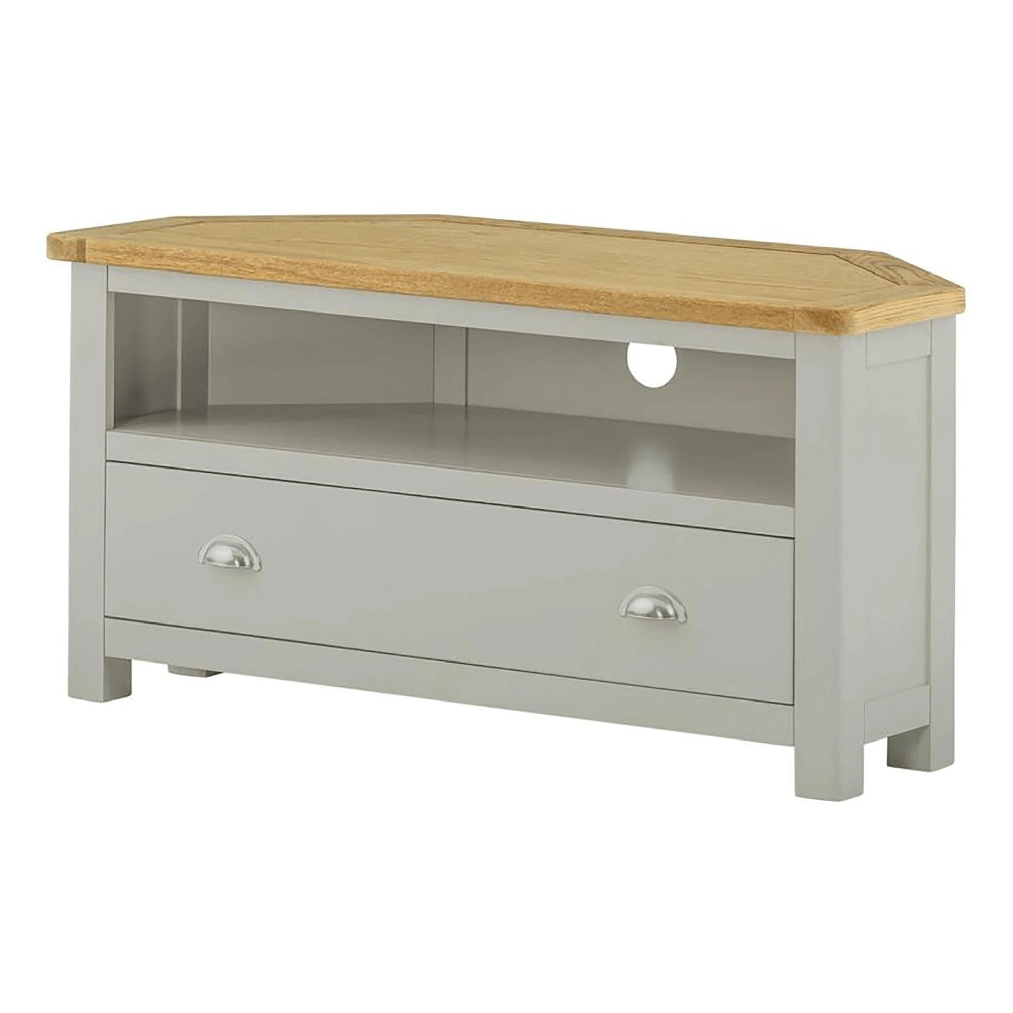 Padstow Grey Corner Tv Stand Screen Sizes Up To 46 Solid Wood Oak Roseland Furniture