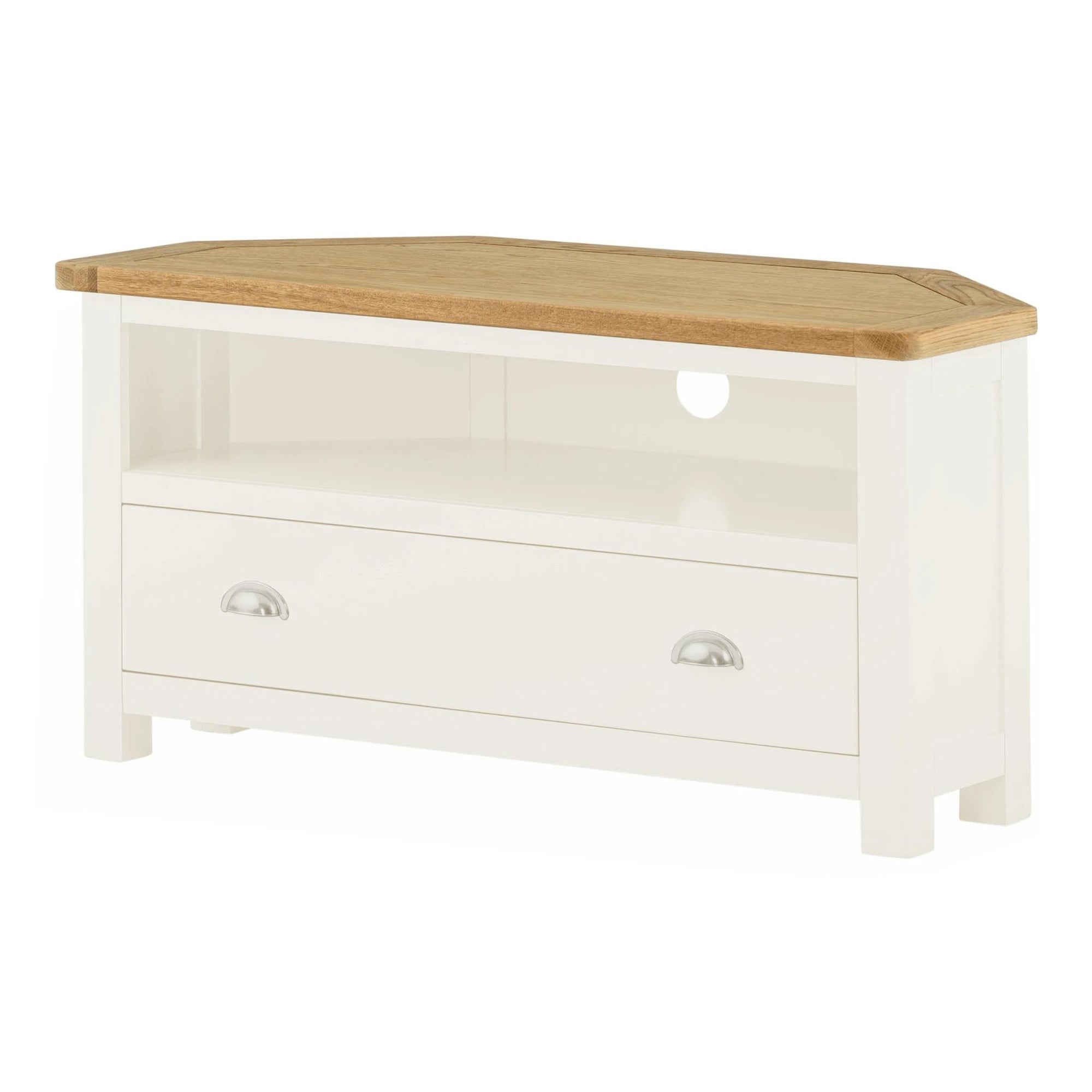 The Padstow White Wooden Corner TV Stand with Drawer from Roseland furniture