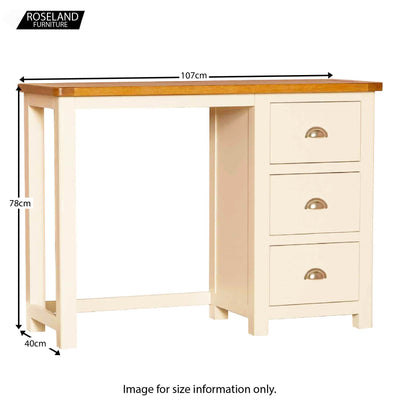 Padstow Cream Dressing Table - Size Guide