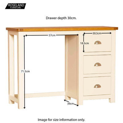 Padstow Cream Dressing Table - Additional Size Guide